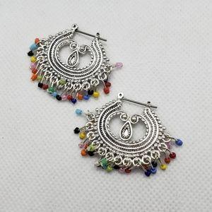 Multie colored earrings silver base!!